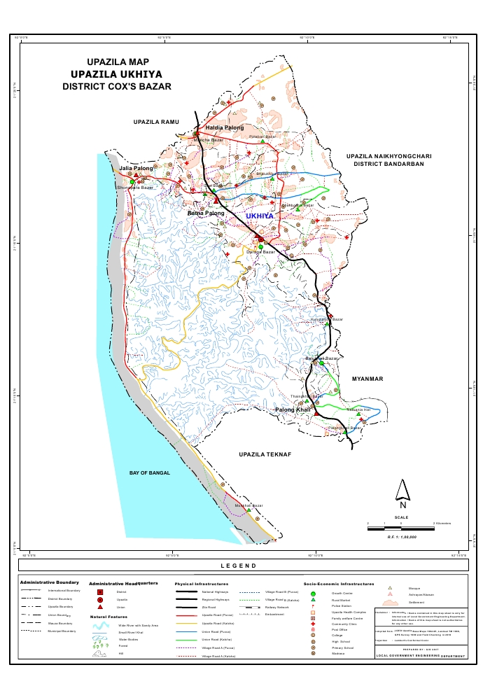 Ukhiya Upazila Map Cox's Bazar District Bangladesh