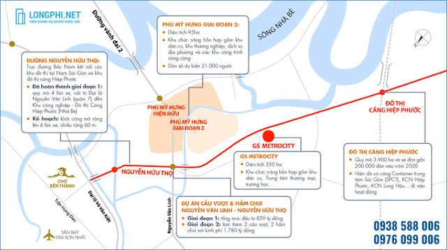 Bản đồ vị trí dự án GS Metricity Nhà Bè tại Nam Sài Gòn.