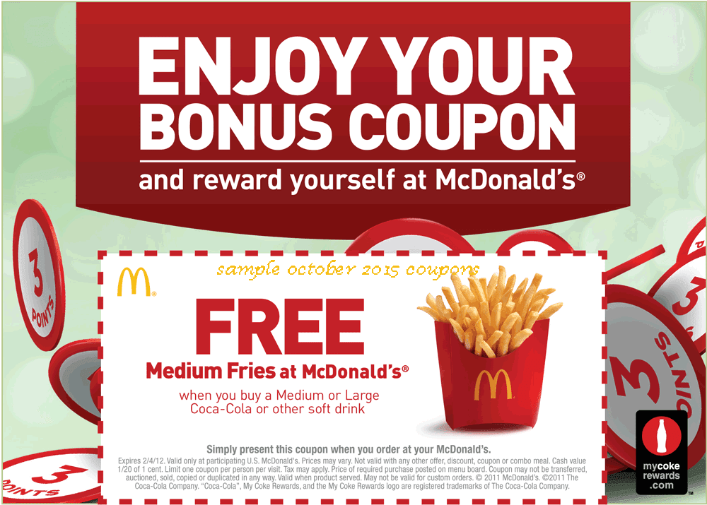 Sep 07,  · Mcdonald's Daily Deal Menu Buy one menu item, get one more free, with a different deal each day. Get Exclusive Mdconalds Offers With App Get Mcdonalds coupons and deals when you download their App. Every month Mcdonalds has new offers posted on their app.. Note: Below are some coupons that I received in the past/5(13).