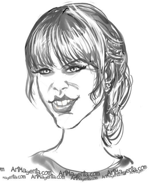 Taylor Swift caricature cartoon. Portrait drawing by caricaturist Artmagenta
