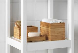 Ikea - lesene škatlice za shranjevanje v kopalnici