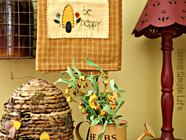 fall decor, bee skep, sunflowers