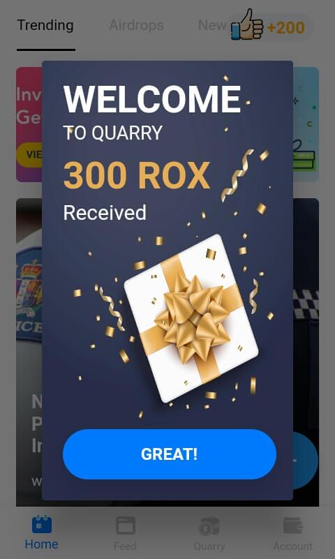 Sampai disini Anda telah berhasil masuk ke aplikasi Quarry dan memperoleh 300 ROX secara gratis.