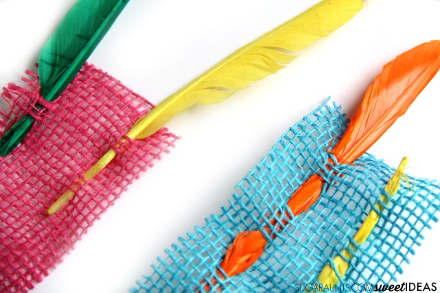 Kids will love this Fine motor feather burlap weaving activity to build fine motor skills.