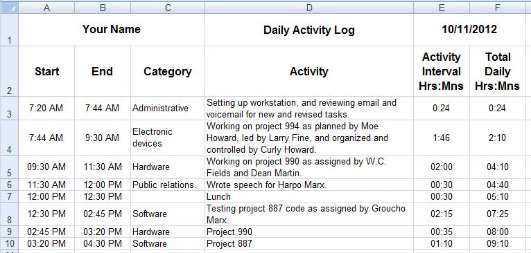 Dave\'s tech docs: Creating daily activity logs through MS Excel