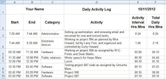 daily activity log template