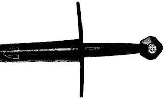 Эфес меча XIV века. Эфес выкован как одно целое с клинком