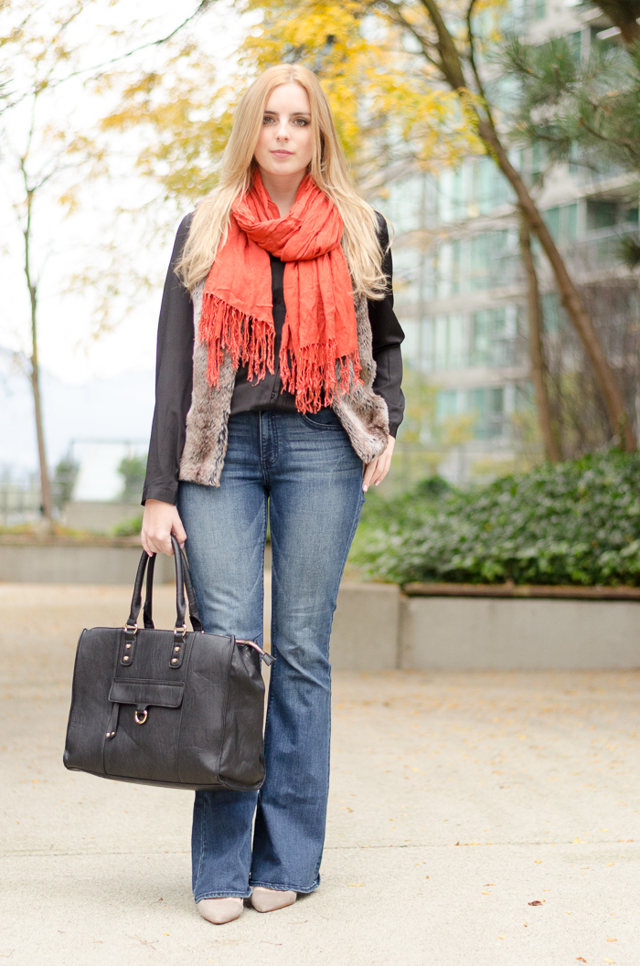 bell bottom jeans, flared jeans, outfit, vancouver style blog, faux fur vest, faux fur