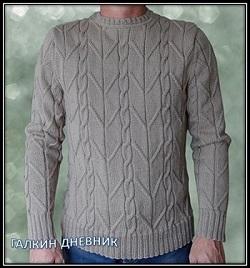 mujskoi pulover spicami shema i opisanie vyazaniya