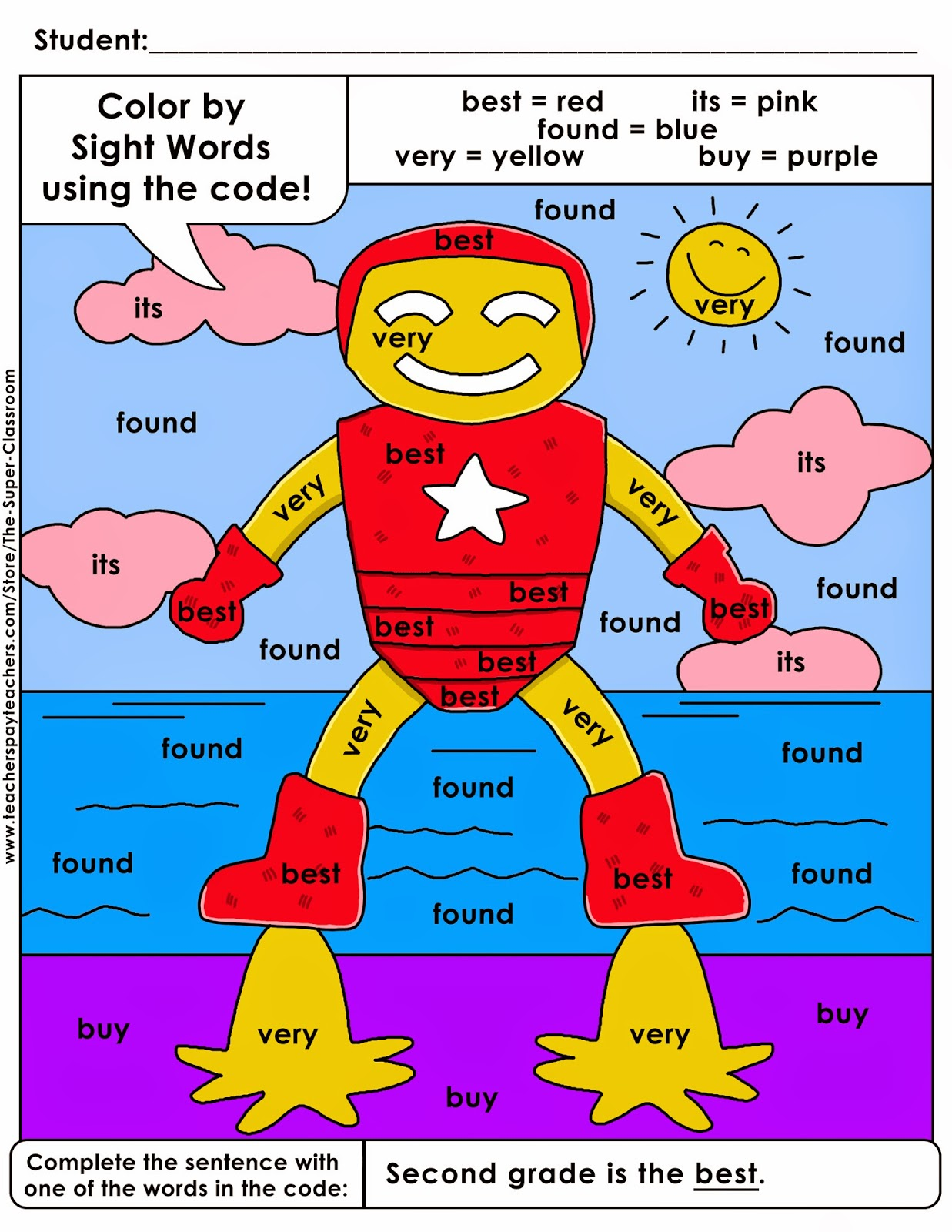 The Super Classroom Second Grade Color By Sight Word