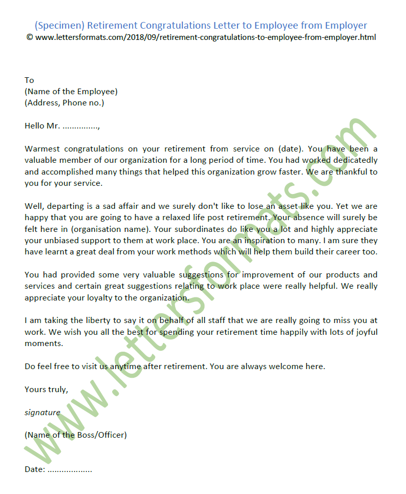 Retirement Congratulations Letter To Employee From Employer Sample
