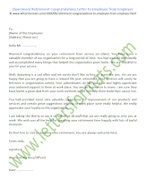 Retirement Congratulations Letter to Employee from Employer (Sample)