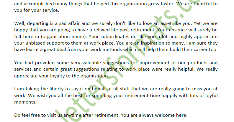 retirement congratulations letter to employee from employer