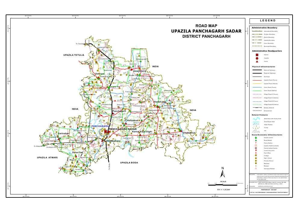 Panchagarh Sadar Upazila Road Map Panchagarh District Bangladesh