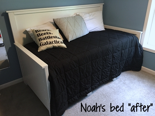 Noah's bed after