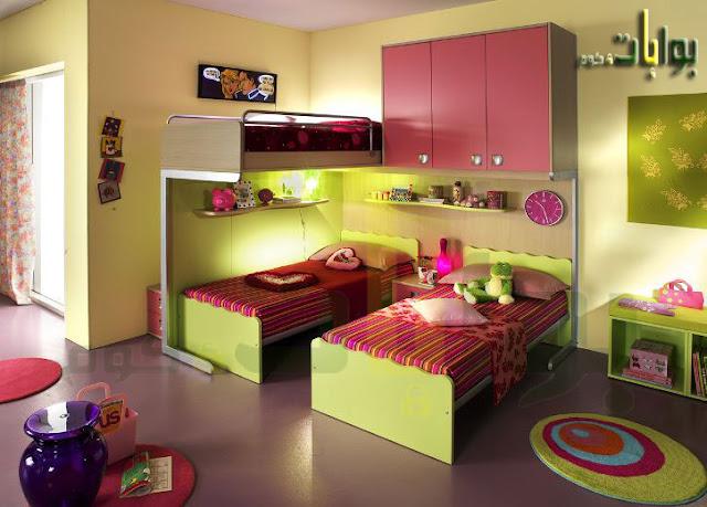 احدث كتالوج صور غرف نوم اطفال بنات بسريرين