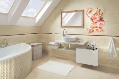 Phòng tắm màu be - ý tưởng về ốp lát, đồ nội thất và trang trí