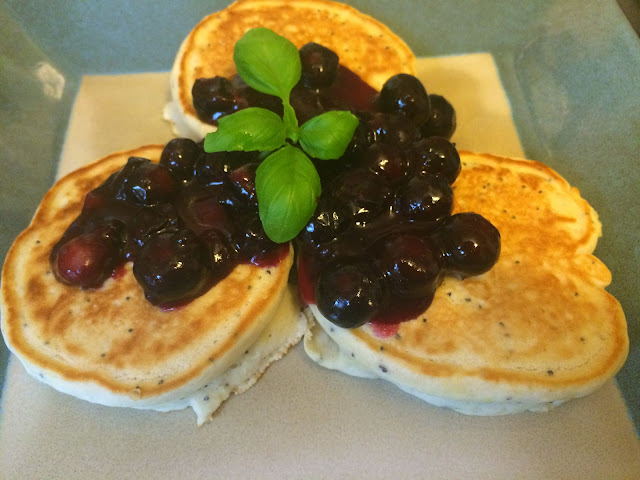 Lemon Poppyseed Pancakes with Blueberry Lemon Sauce
