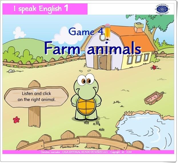 """I speak English 1: """"Farm animals"""" (Juego de Inglés de Infantil)"""
