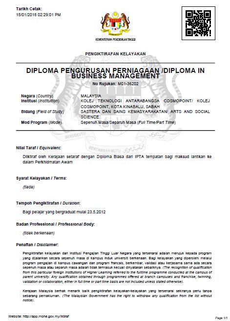 Sijil pengiktirafan MQA untuk Diploma in Business Management Cosmopoint College Sabah