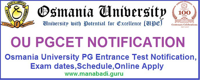 OU PGCET Notification,TS PG Admissions,TS CETs,TS PG CETs