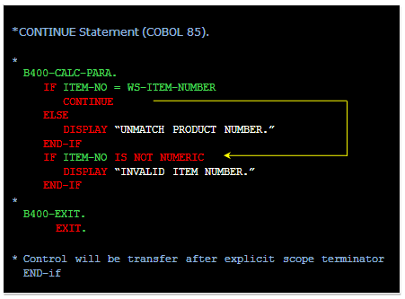 Mainframe Forum: NEXT SENTENCE in COBOL and CONTINUE in COBOL