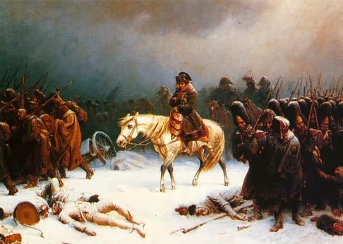 Tropas francesas abandonando Moscou -- Napoleons retreat from Moscow, de Adolf Northern (1828-1876)