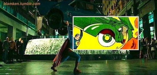 Superman heaving a car over his head in 'Superman Returns' in homage to cover of 'Action Comics' #1, part of which is overlaid onto the movie still