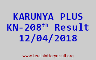 KARUNYA PLUS Lottery KN 208 Result 12-04-2018