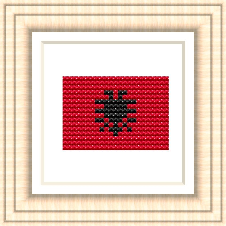 NATIONAL FLAG OF ALBANIA CROSS STITCH CHART