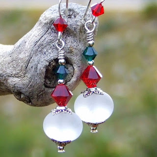 christmas red white and green holiday earrings