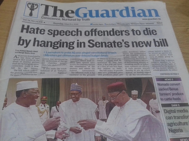 Hate speech offenders to die by hanging in Senate's new bill - Newspaper review
