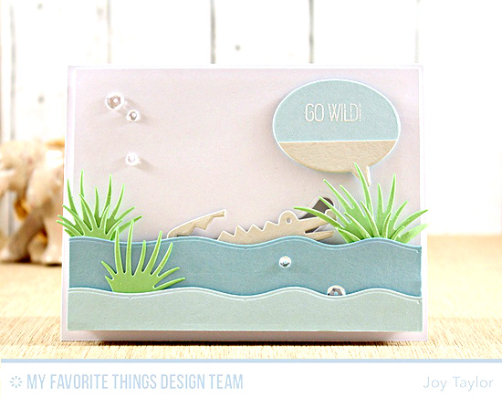 Handmade card from Joy Taylor featuring Jungle Friends stamp set and Die-namics, Surf & Turf Die-namics #mftstamps