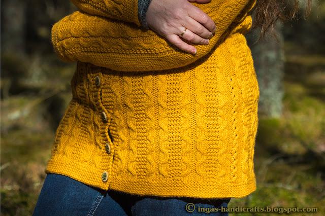 Kollane palmikutega kampsun / Yellow Cabled Cardigan