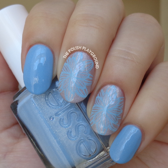 Pale Lilac with Light Blue Full Flower Stamping Nail Art