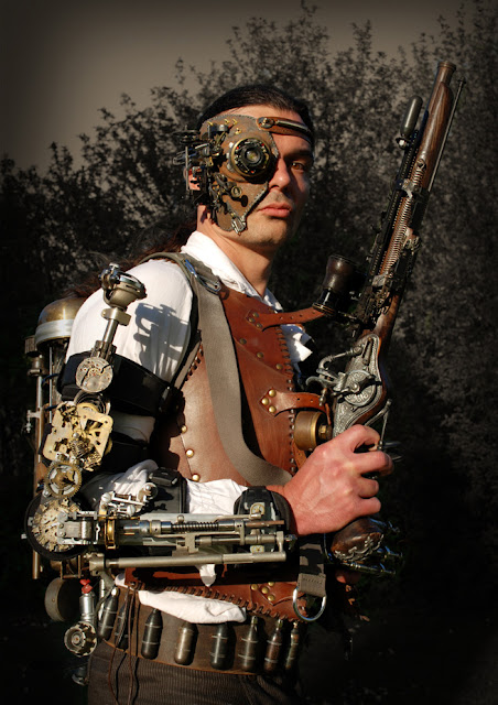 mens steampunk clothing mechanical arm mechanical eye patch gun leather vest