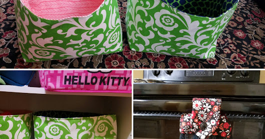 Diy sewing projects: Fabric storage bins and dishtowel hanger