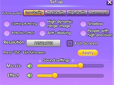 pengaturan kualitas gambar, resolusi, dan suara di game DanceOn