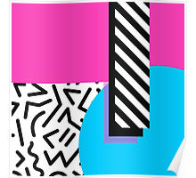 80s abstract blue and pink poster