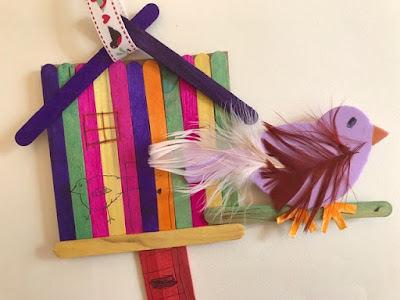 Lollipop stick birdhouse craft