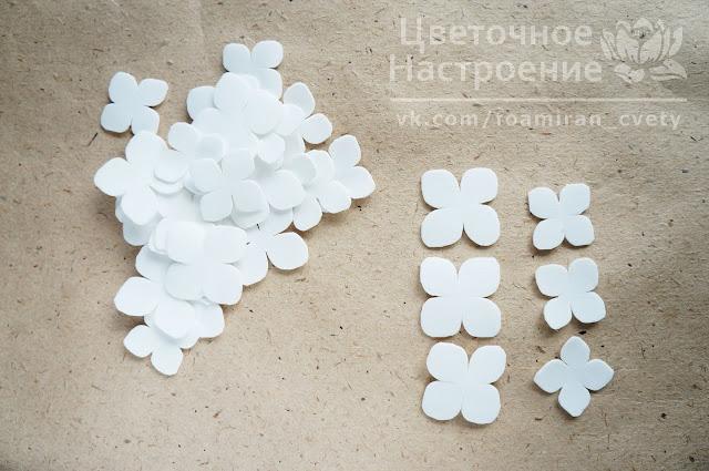 цветы гортензии из фоамирана