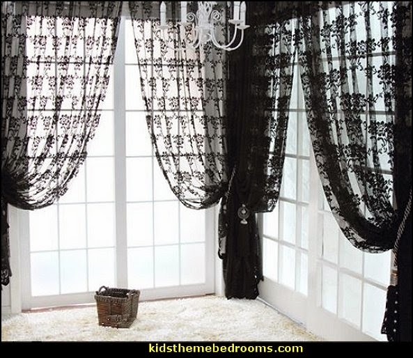 Black  Vintage French Lace Window Treatment Curtain Drape Veil Panel