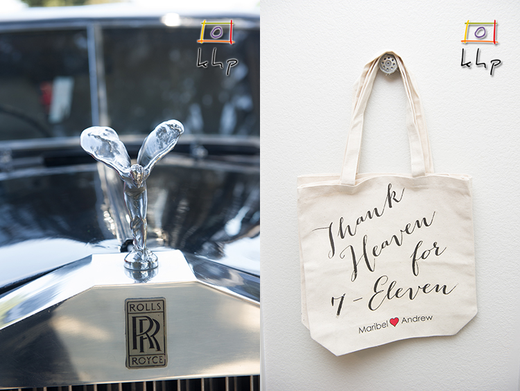 Thank Heaven for 7-Eleven read the tote bags for the guests... The date of the wedding.