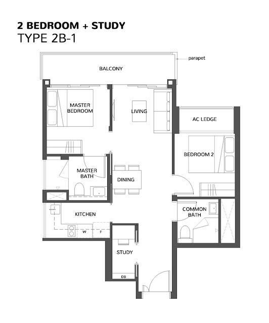 The Wisteria @ Yishun Floor Plan 2 Bedroom + Study
