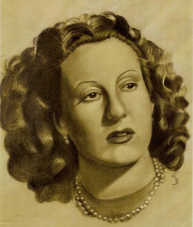 Retrato antiguo de mujer con perlas