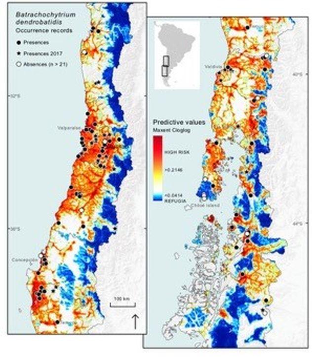 Mapa del hotspot de biodiversidad en Chile