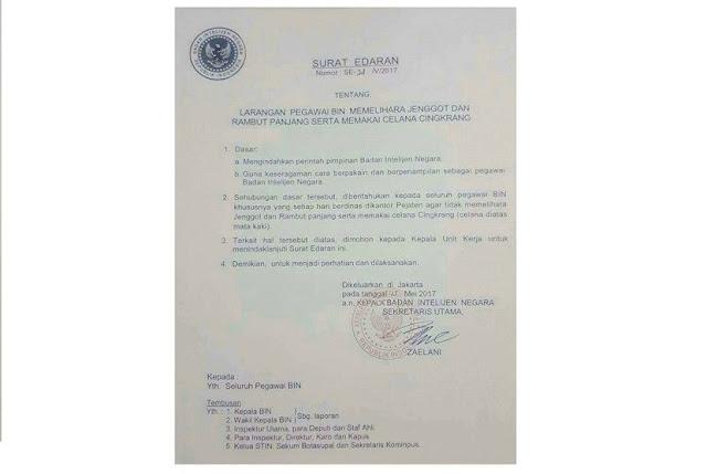 BIN Akui Terbitkan Surat Larangan Pelihara Jenggot Bagi Pegawai