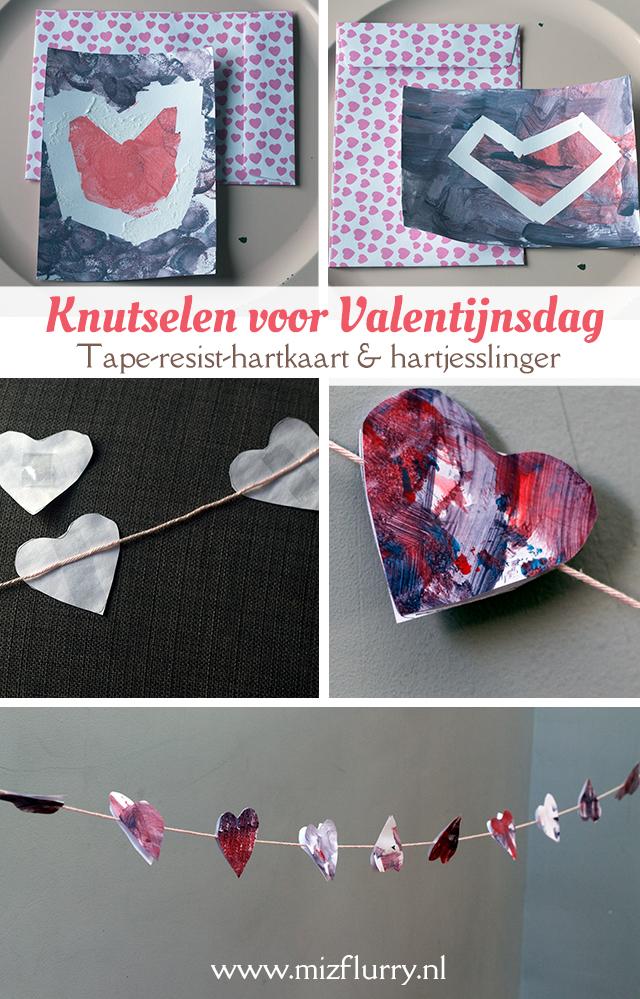 Knutselen voor Valentijnsdag - Deze twee knutselideeën zijn makkelijk uit te voeren met kinderen; een tape resist hartkaart en een hartjesslinger van papier.