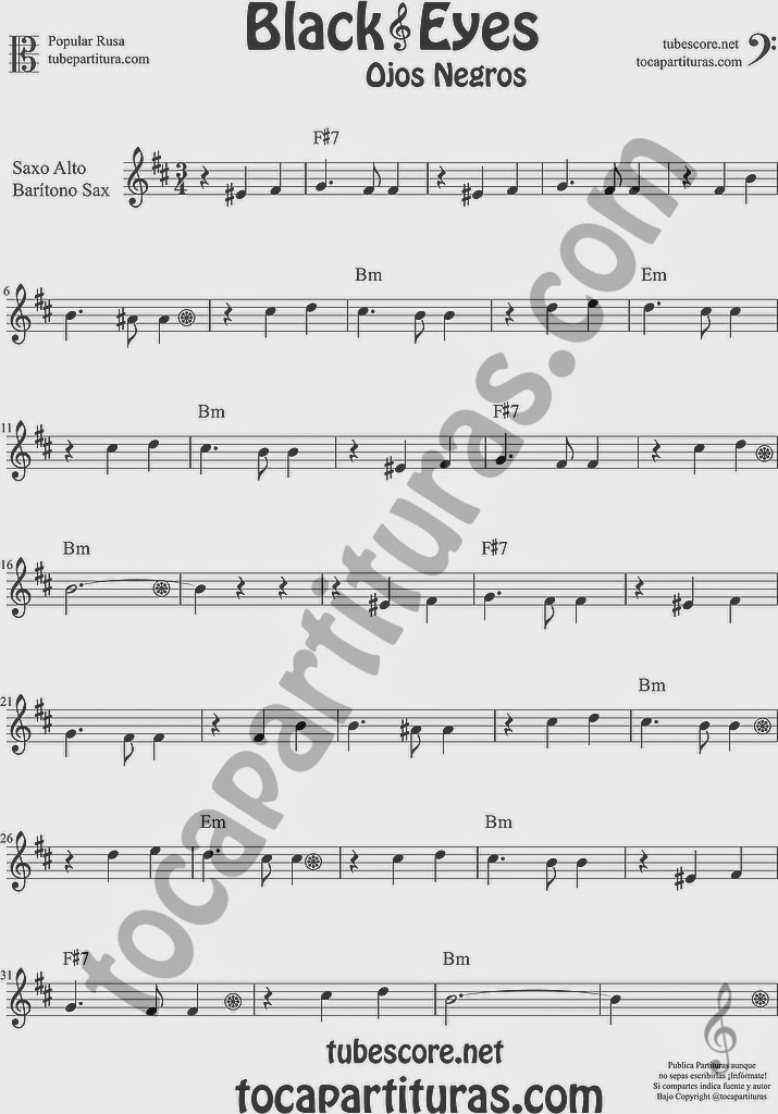 Ojos Negros Partitura de Saxofón Alto y Sax Barítono Sheet Music for Alto and Baritone Saxophone Music Scores Black Eyes Popular Rusa