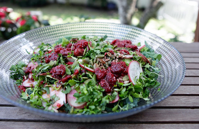 Kale Salad with Raspberry Vinaigrette